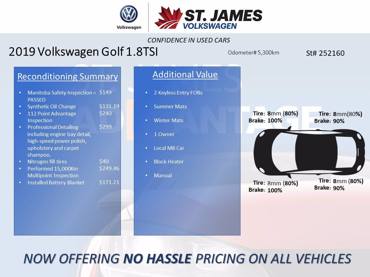 Certified Pre-Owned 2019 Volkswagen Golf SportWagen Comfortline 1.8TSI Automatic, Back-up Camera, Power Seats, Heated Seats