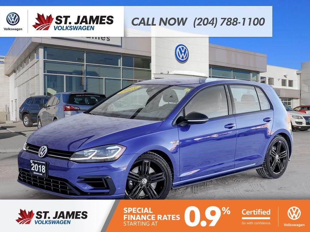 Certified Pre-Owned 2018 Volkswagen Golf R 2.0TSI 4MOTION, WINTER TIRES AND VW RIMS, SUMMER TIRES AND VW RIMS