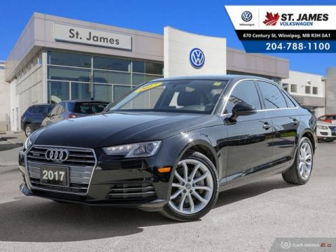 Pre-Owned 2017 Audi A4 Progressiv 2.0TFSI QUATTRO, LEATHER, HEATED SEATS & STEERING WHEEL, SUNROOF
