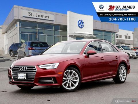 Pre-Owned 2018 Audi A4 Sedan Progressiv 2.0TFSI QUATTRO, CLEAN CARFAX, LEATHER, SUNROOF, REAR VIEW CAMERA